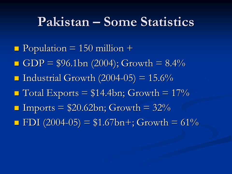 Pakistan – Some Statistics Population = 150 million + Population = 150 million + GDP = $96.1bn (2004); Growth = 8.4% GDP = $96.1bn (2004); Growth = 8.