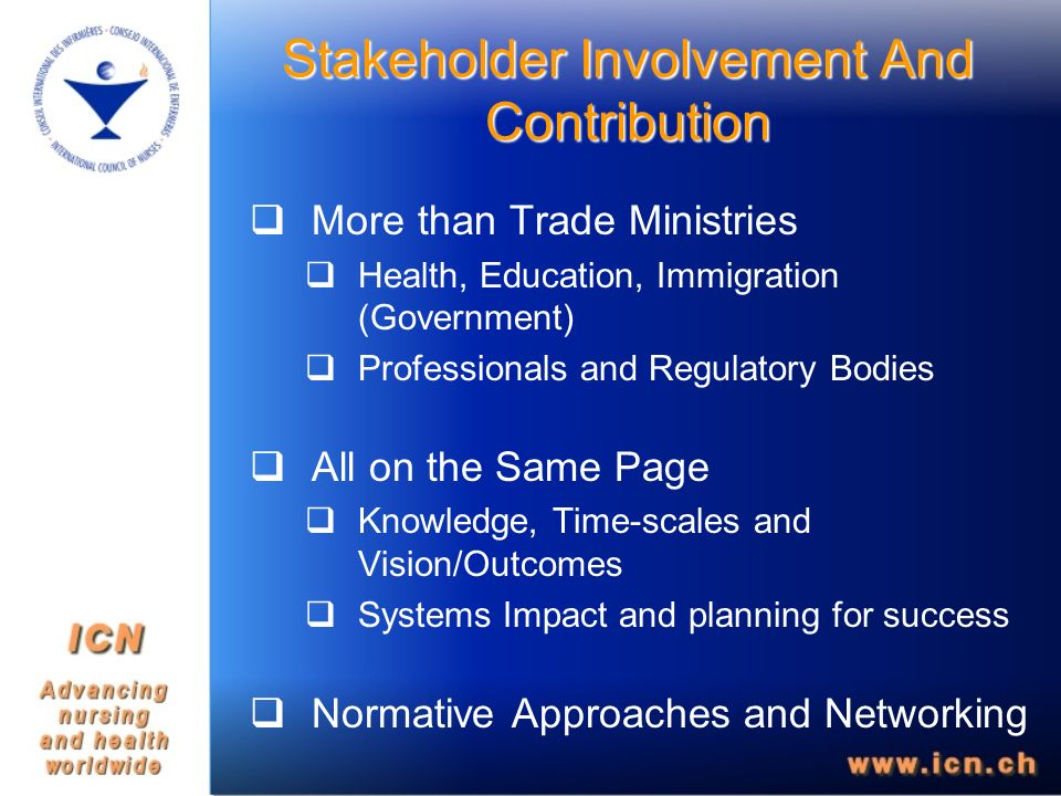 Stakeholder Involvement And Contribution More than Trade Ministries Health, Education, Immigration (Government) Professionals and Regulatory Bodies All on the Same Page Knowledge, Time-scales and Vision/Outcomes Systems Impact and planning for success Normative Approaches and Networking