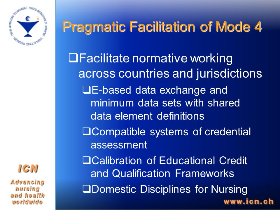 Facilitate normative working across countries and jurisdictions E-based data exchange and minimum data sets with shared data element definitions Compatible systems of credential assessment Calibration of Educational Credit and Qualification Frameworks Domestic Disciplines for Nursing