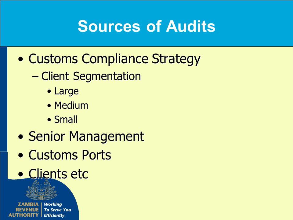 Sources of Audits Customs Compliance StrategyCustoms Compliance Strategy –Client Segmentation LargeLarge MediumMedium SmallSmall Senior ManagementSeni