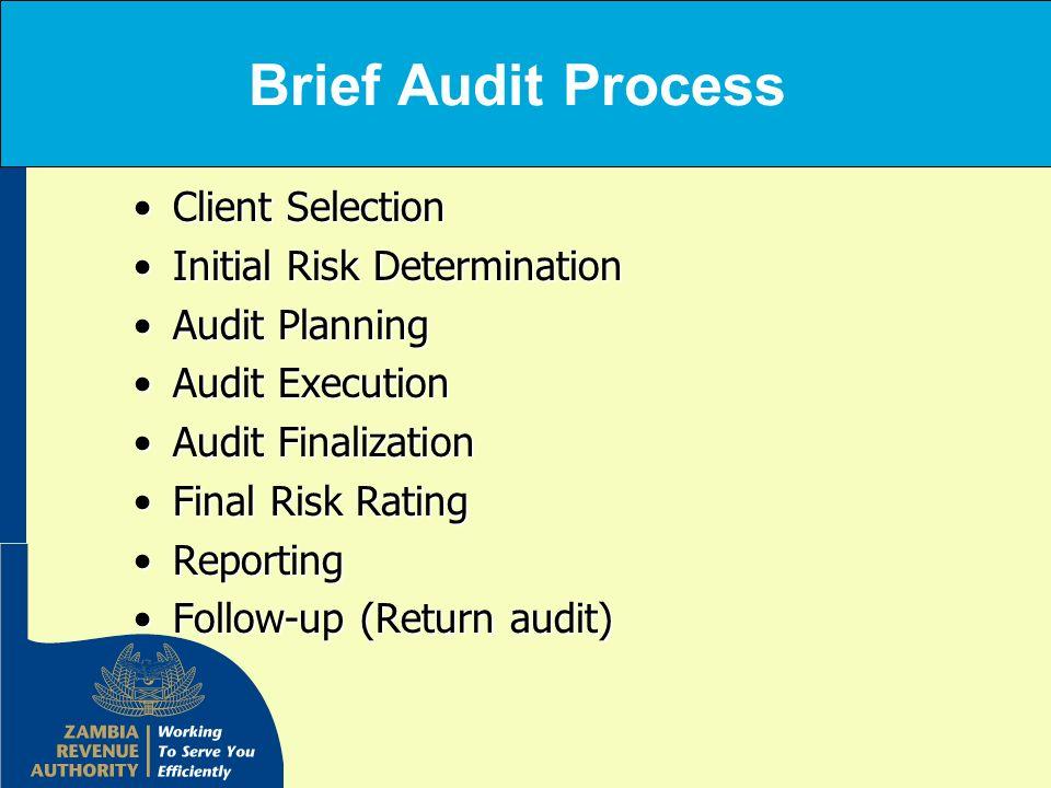 Brief Audit Process Client SelectionClient Selection Initial Risk DeterminationInitial Risk Determination Audit PlanningAudit Planning Audit Execution