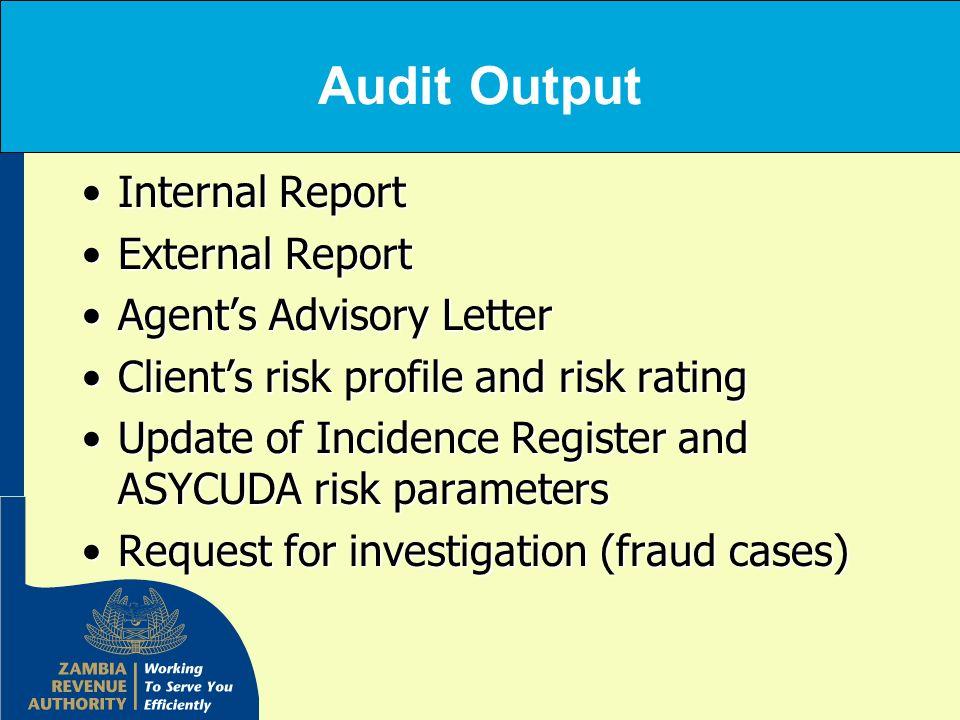 Audit Output Internal ReportInternal Report External ReportExternal Report Agents Advisory LetterAgents Advisory Letter Clients risk profile and risk