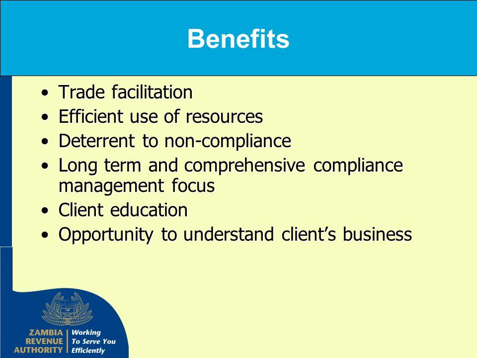 Benefits Trade facilitationTrade facilitation Efficient use of resourcesEfficient use of resources Deterrent to non-complianceDeterrent to non-complia
