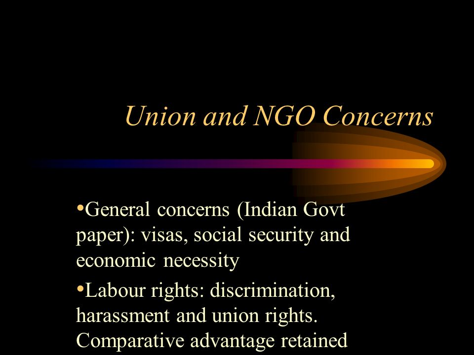 Union and NGO Concerns General concerns (Indian Govt paper): visas, social security and economic necessity Labour rights: discrimination, harassment and union rights.