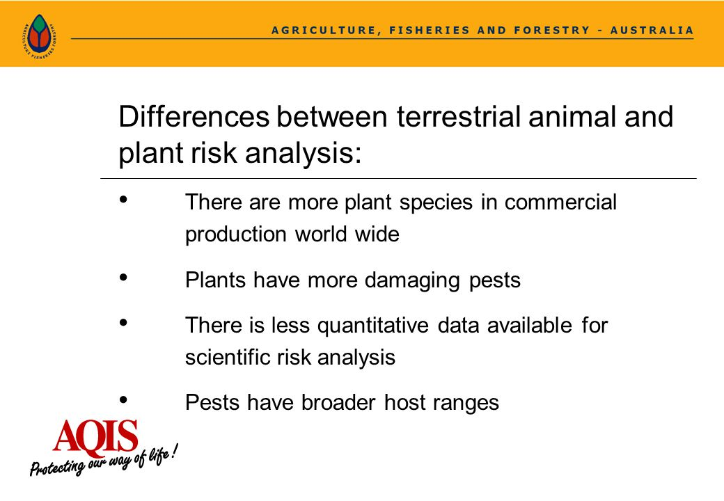 Differences between terrestrial animal and plant risk analysis: There are more plant species in commercial production world wide Plants have more dama