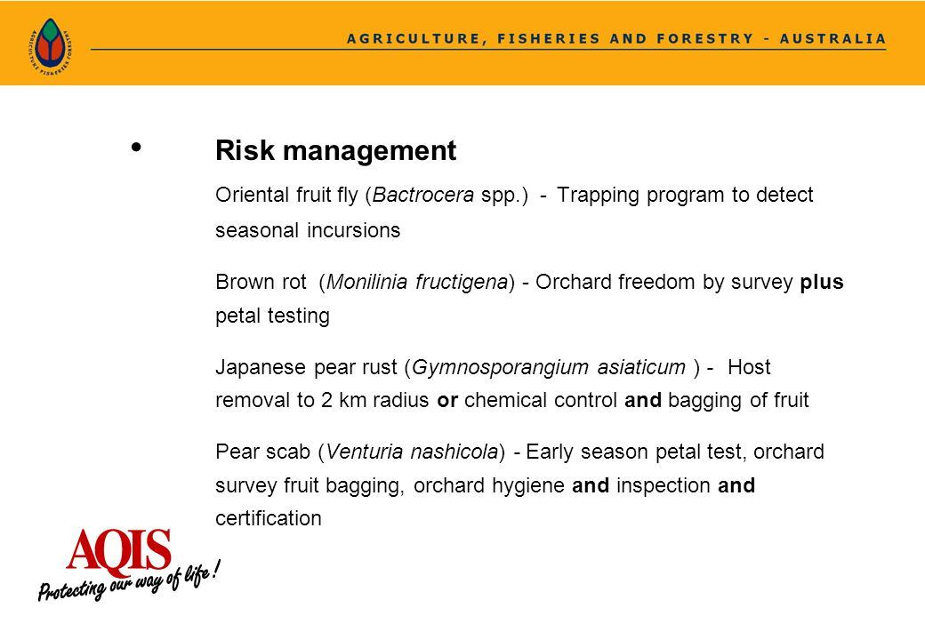 Risk management Oriental fruit fly (Bactrocera spp.) - Trapping program to detect seasonal incursions Brown rot (Monilinia fructigena) - Orchard freed