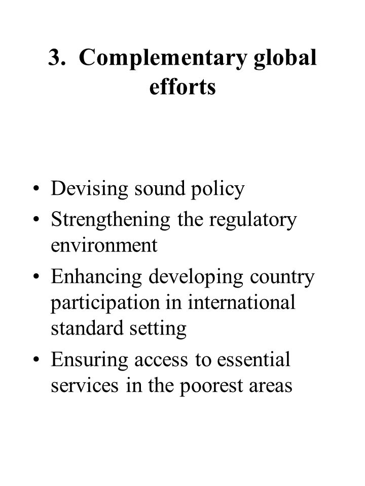 3. Complementary global efforts Devising sound policy Strengthening the regulatory environment Enhancing developing country participation in internati