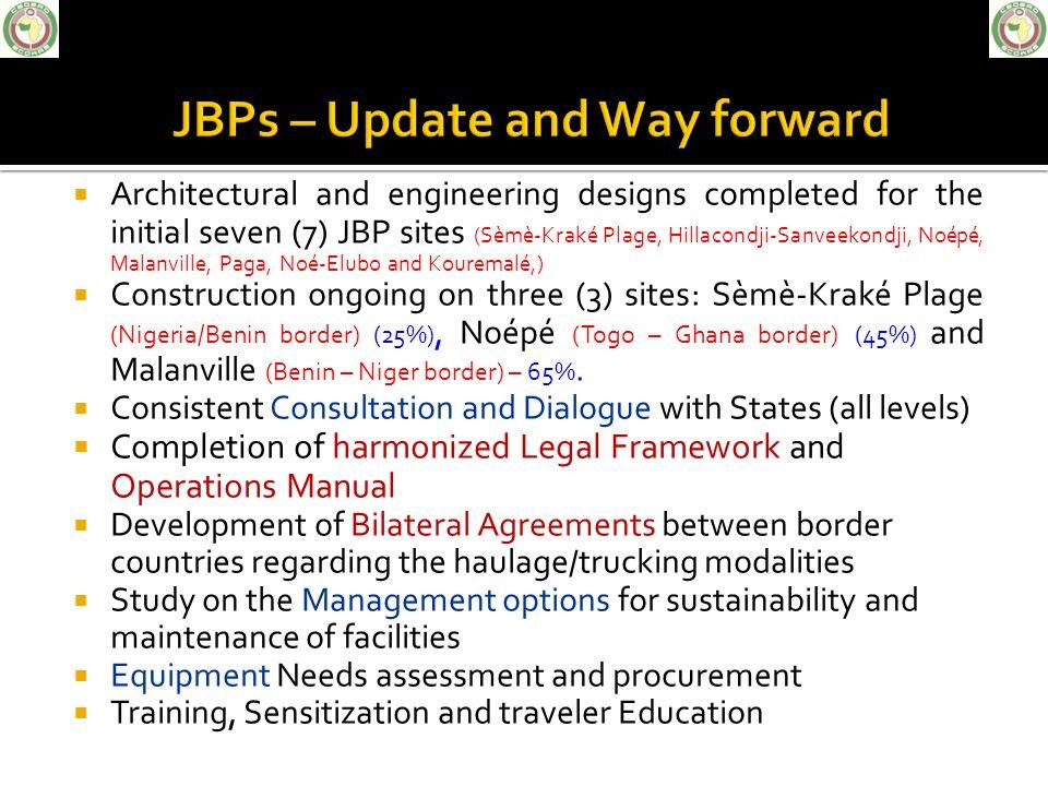 Architectural and engineering designs completed for the initial seven (7) JBP sites (Sèmè-Kraké Plage, Hillacondji-Sanveekondji, Noépé, Malanville, Pa