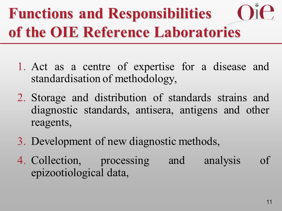 11 Functions and Responsibilities of the OIE Reference Laboratories 1. Act as a centre of expertise for a disease and standardisation of methodology,