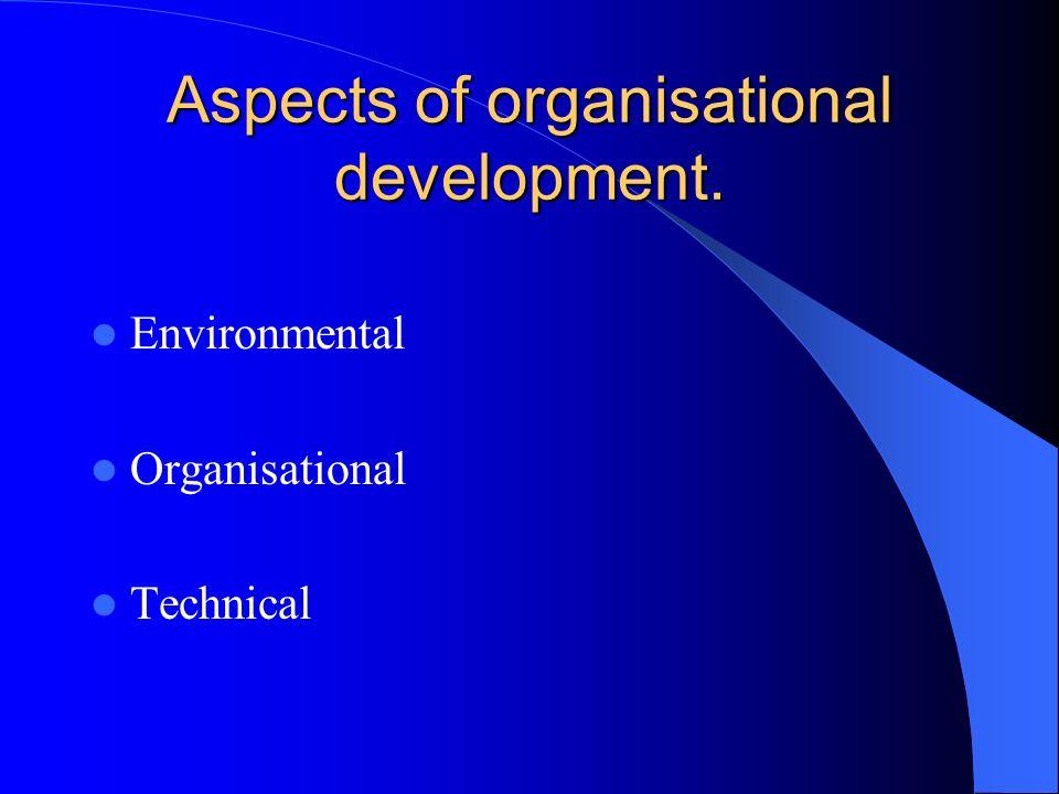 Aspects of organisational development. Environmental Organisational Technical