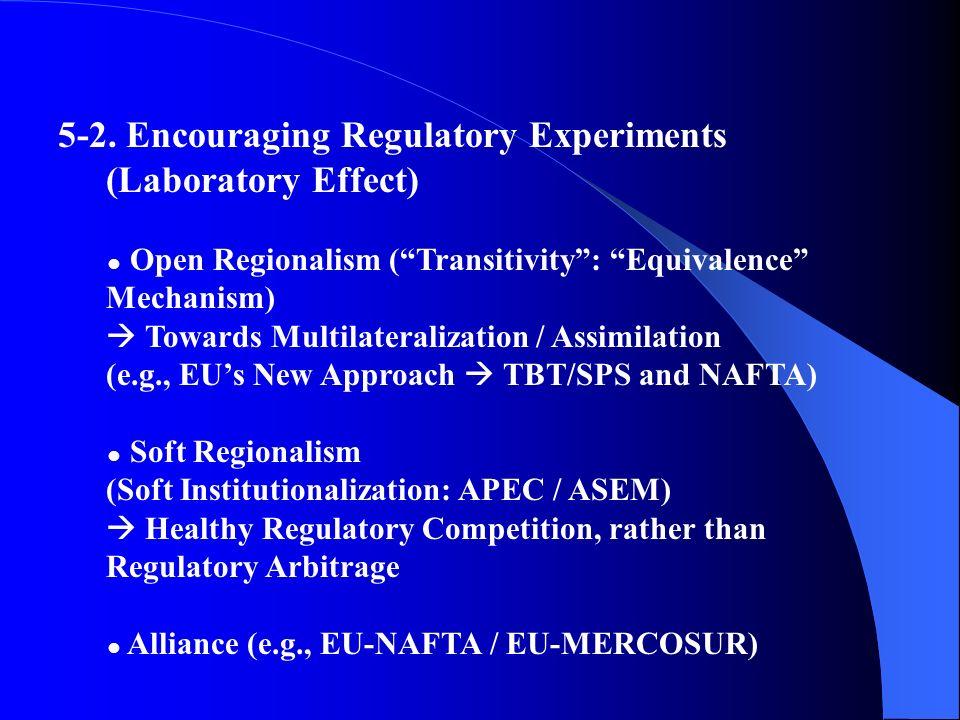 5-2. Encouraging Regulatory Experiments (Laboratory Effect) Open Regionalism (Transitivity: Equivalence Mechanism) Towards Multilateralization / Assim