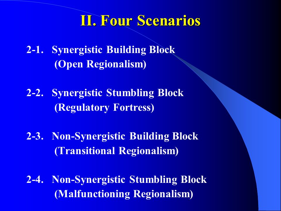 II. Four Scenarios 2-1. Synergistic Building Block (Open Regionalism) 2-2. Synergistic Stumbling Block (Regulatory Fortress) 2-3. Non-Synergistic Buil