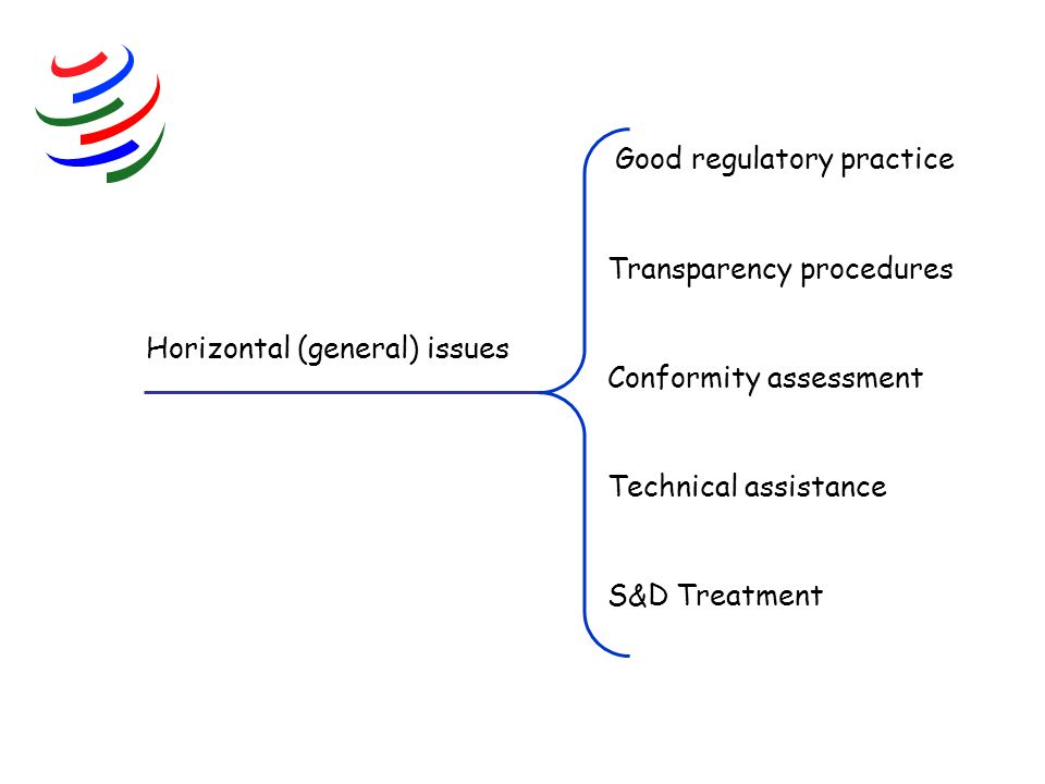 Horizontal (general) issues Good regulatory practice Transparency procedures Conformity assessment Technical assistance S&D Treatment