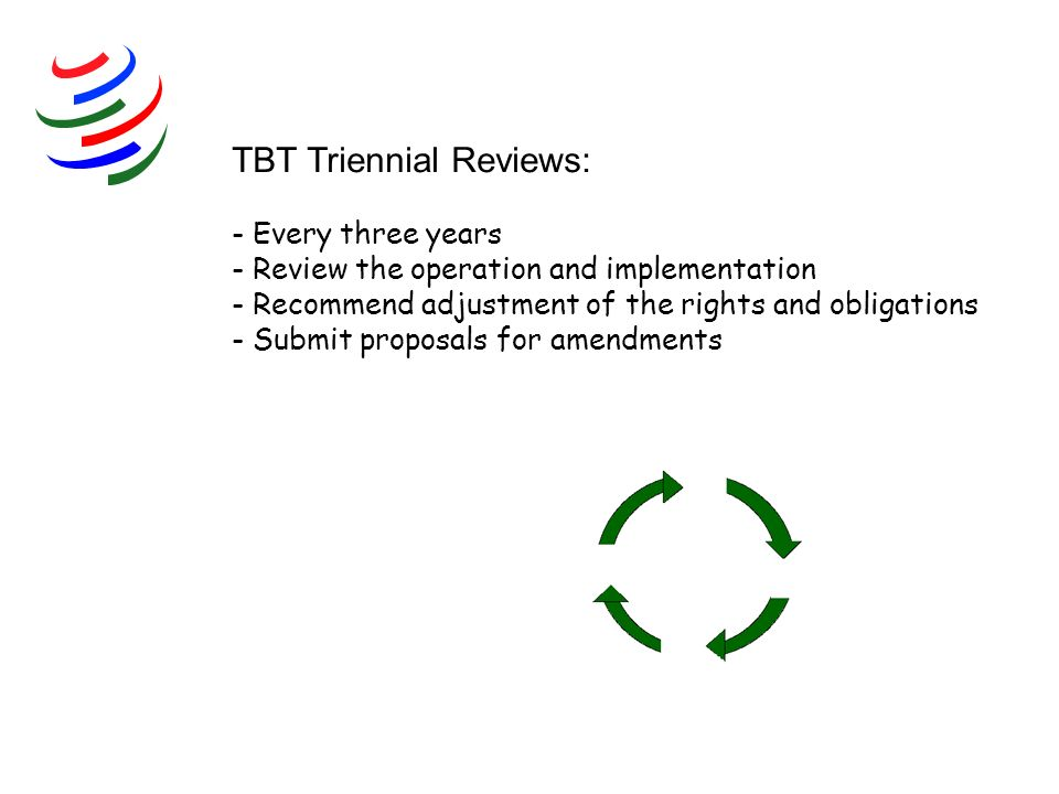 TBT Triennial Reviews: - Every three years - Review the operation and implementation - Recommend adjustment of the rights and obligations - Submit proposals for amendments