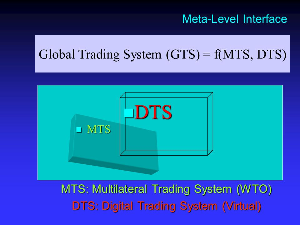 Global Trading System (GTS) = f(MTS, DTS) MTS: Multilateral Trading System (WTO) DTS: Digital Trading System (Virtual) Meta-Level Interface MTS MTS DT