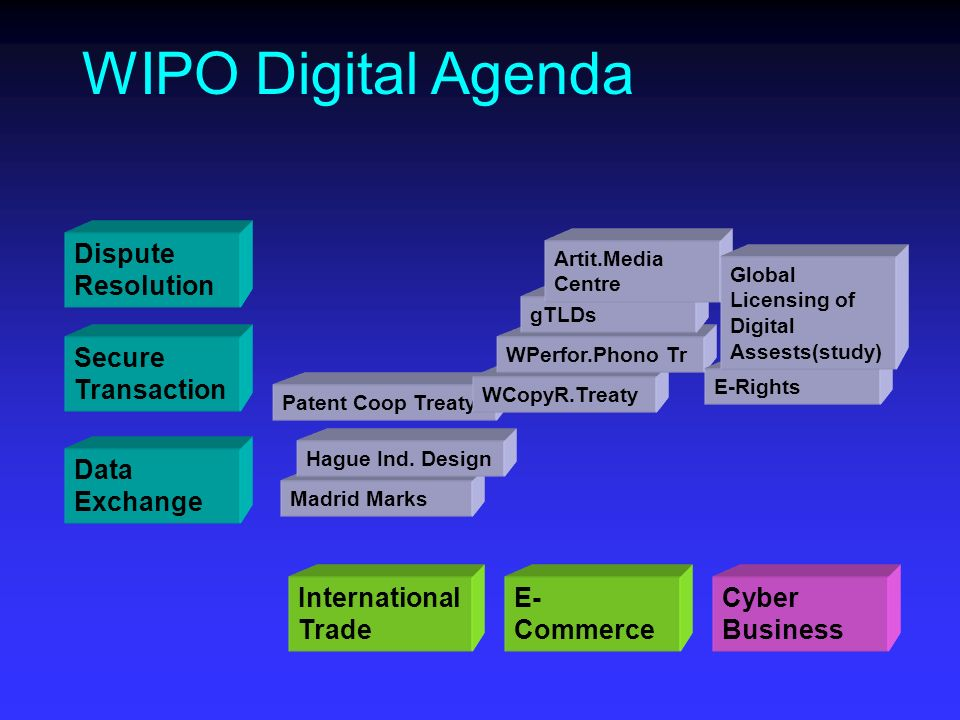 Patent Coop Treaty Dispute Resolution Secure Transaction Data Exchange WIPO Digital Agenda International Trade E- Commerce Cyber Business Madrid Marks Hague Ind.