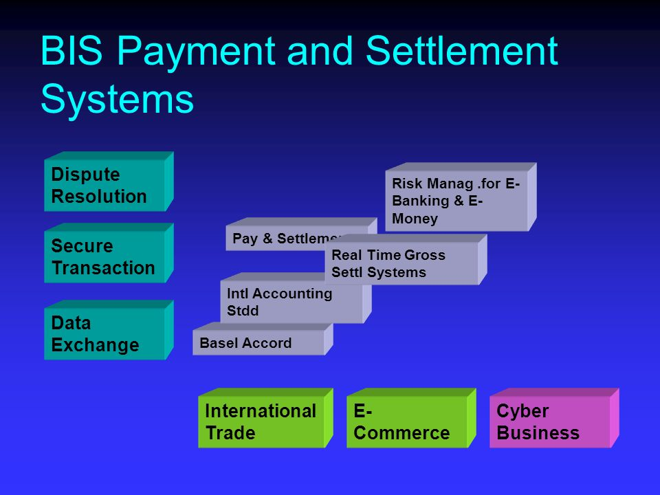 Dispute Resolution Secure Transaction Data Exchange BIS Payment and Settlement Systems International Trade E- Commerce Cyber Business Basel Accord Pay & Settlement Intl Accounting Stdd Risk Manag.for E- Banking & E- Money Real Time Gross Settl Systems