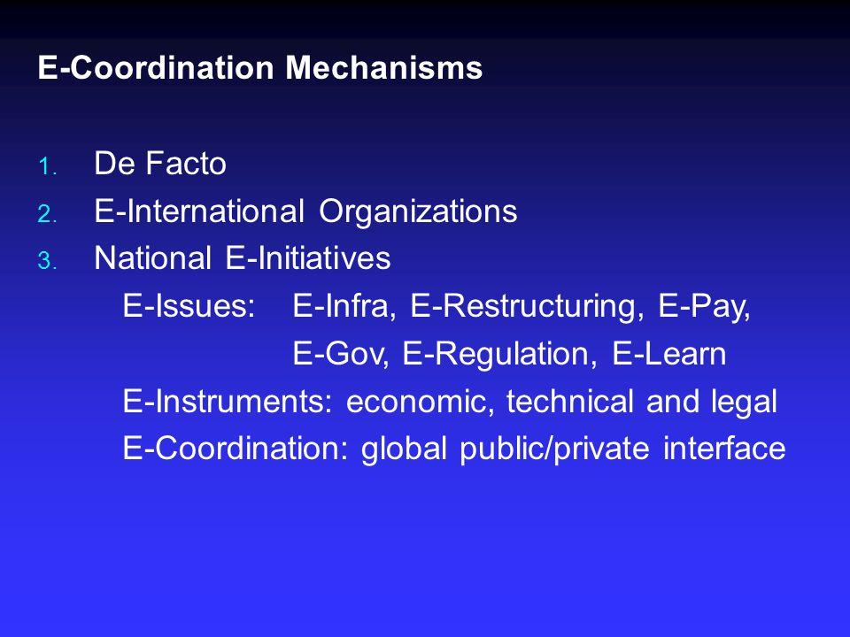 E-Coordination Mechanisms 1. De Facto 2. E-International Organizations 3.