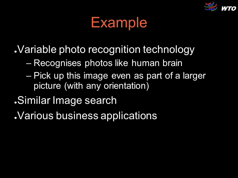 WTO Example Variable photo recognition technology –Recognises photos like human brain –Pick up this image even as part of a larger picture (with any o