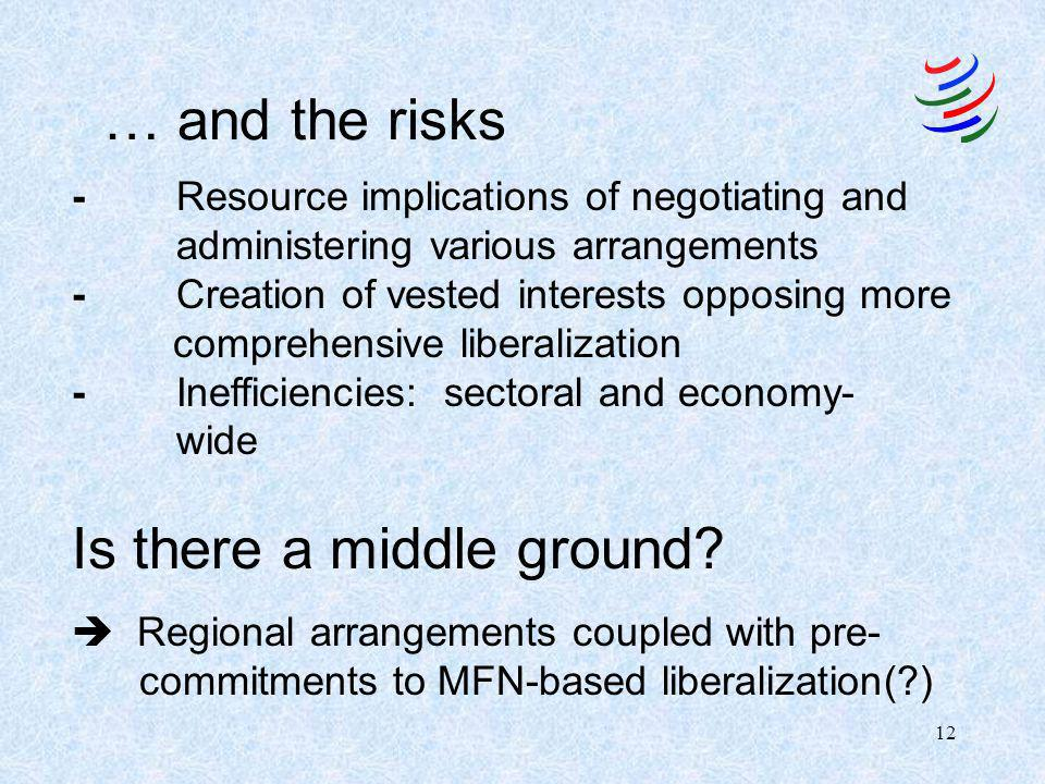 12 … and the risks -Resource implications of negotiating and administering various arrangements -Creation of vested interests opposing more comprehensive liberalization -Inefficiencies: sectoral and economy- wide Is there a middle ground.