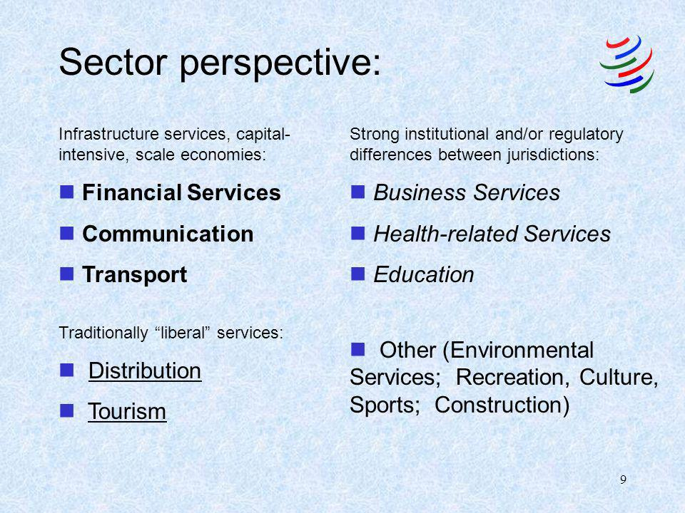 9 Sector perspective: Infrastructure services, capital- intensive, scale economies: n Financial Services n Communication n Transport Traditionally lib