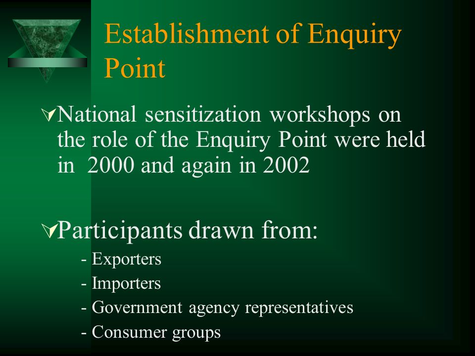 Establishment of Enquiry Point National sensitization workshops on the role of the Enquiry Point were held in 2000 and again in 2002 Participants draw