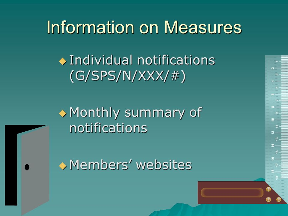 Information on Measures Enquiry points of Members (G/SPS/ENQ/19 and Add.1) Enquiry points of Members (G/SPS/ENQ/19 and Add.1) Codex, IPPC, OIE contact points Codex, IPPC, OIE contact points Members websites Members websites