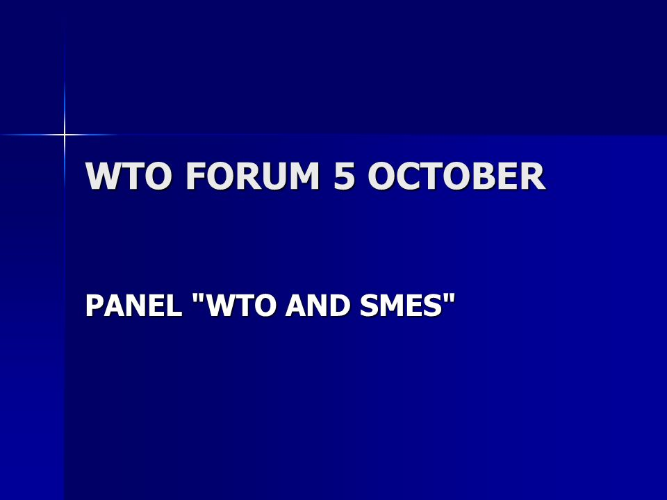 WTO FORUM 5 OCTOBER PANEL WTO AND SMES