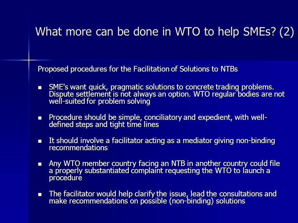 What more can be done in WTO to help SMEs.