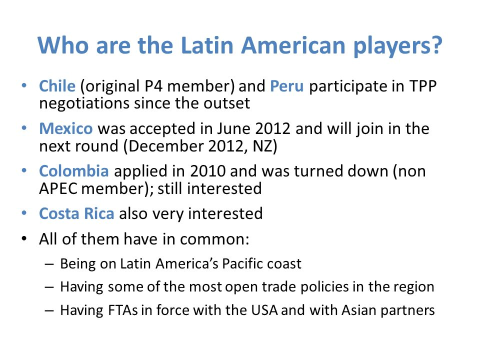 Who are the Latin American players.
