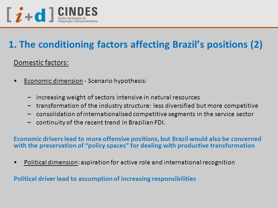 1. The conditioning factors affecting Brazils positions (2) Domestic factors: Economic dimension - Scenario hypothesis: –increasing weight of sectors