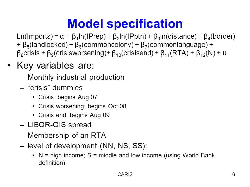 Ln(Imports) = α + β 1 ln(IPrep) + β 2 ln(IPptn) + β 3 ln(distance) + β 4 (border) + β 5 (landlocked) + β 6 (commoncolony) + β 7 (commonlanguage) + β 8 crisis + β 9 (crisisworsening)+ β 10 (crisisend) + β 11 (RTA) + β 12 (N) + u.