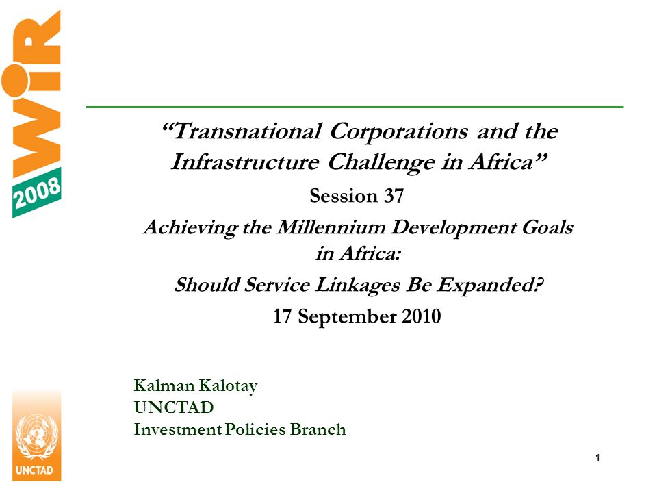 2 Why investment in infrastructure is important – in all countries Efficient infrastructure services are crucial for competitiveness and economic growth in all countries, rich and poor Good quality infrastructure is essential for international trade and integration into the world economy Access to affordable infrastructure services, such as electricity and drinking water, is an important determinant of living standards The development of infrastructure helps to eliminate poverty and attain the UN Millennium Development Goals Low-income countries (in Africa and partly in Asia) have huge infrastructure investment needs but lack the necessary capacity domestically to meet them