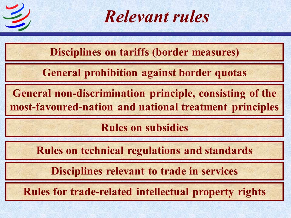 Relevant rules Disciplines on tariffs (border measures) General prohibition against border quotas General non-discrimination principle, consisting of the most-favoured-nation and national treatment principles Rules on subsidies Disciplines relevant to trade in services Rules on technical regulations and standards Rules for trade-related intellectual property rights