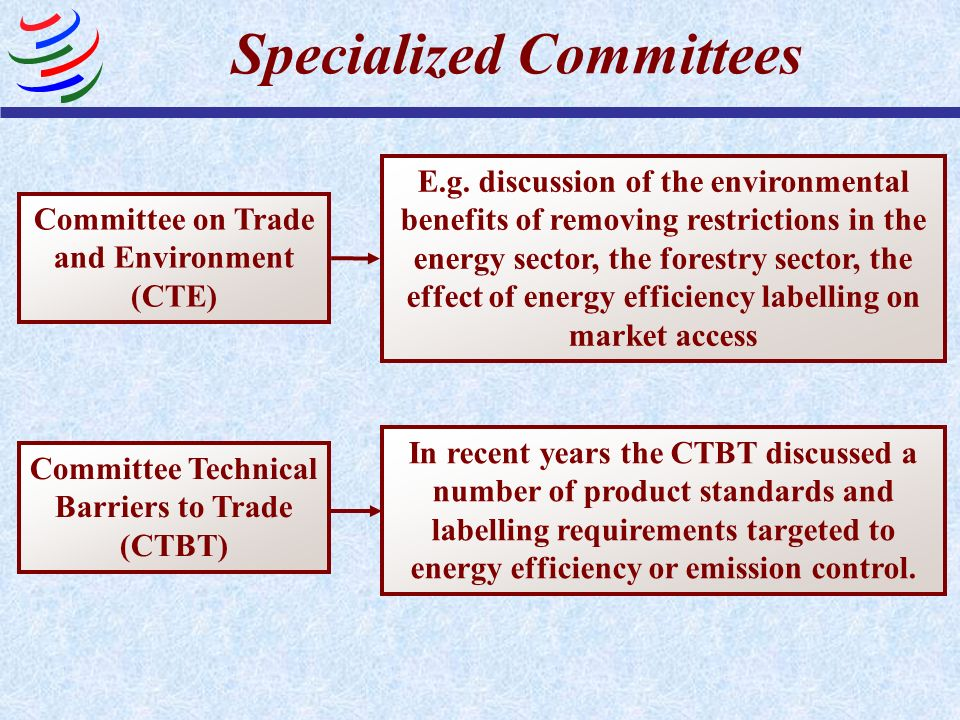 Specialized Committees Committee on Trade and Environment (CTE) E.g.
