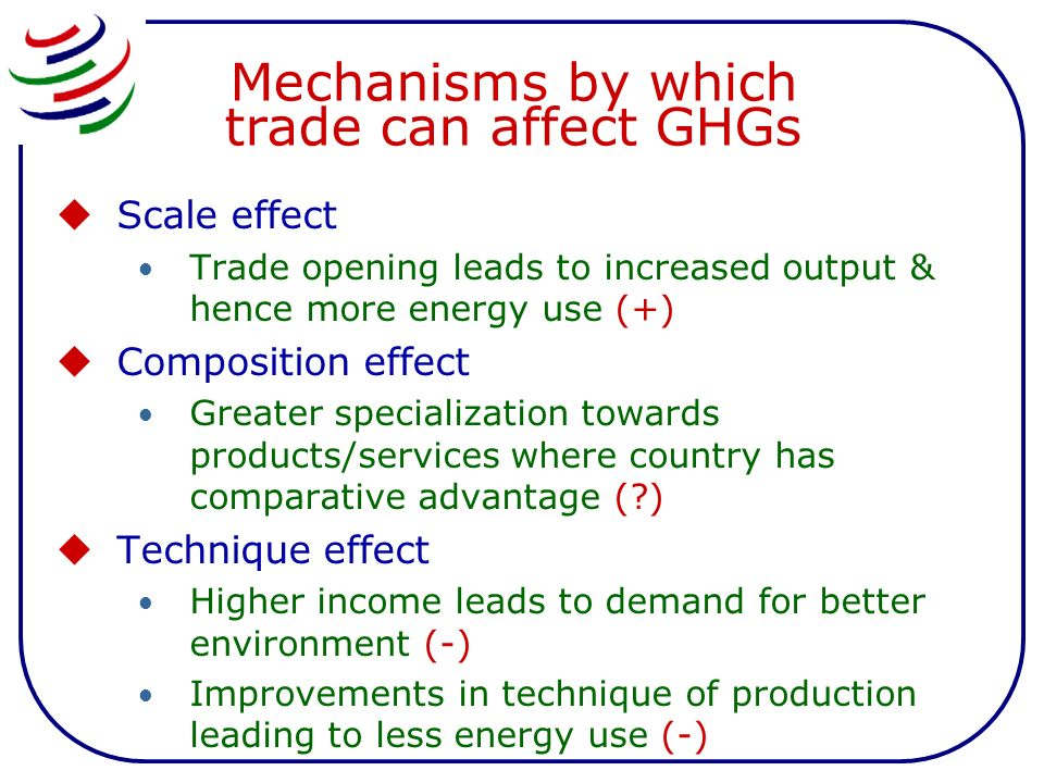 Mechanisms by which trade can affect GHGs Scale effect Trade opening leads to increased output & hence more energy use (+) Composition effect Greater