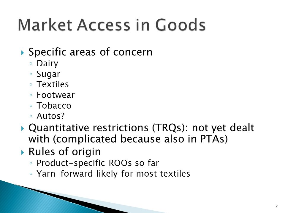Specific areas of concern Dairy Sugar Textiles Footwear Tobacco Autos.