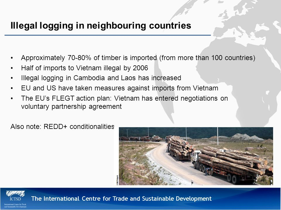 The International Centre for Trade and Sustainable Development Approximately 70-80% of timber is imported (from more than 100 countries) Half of impor