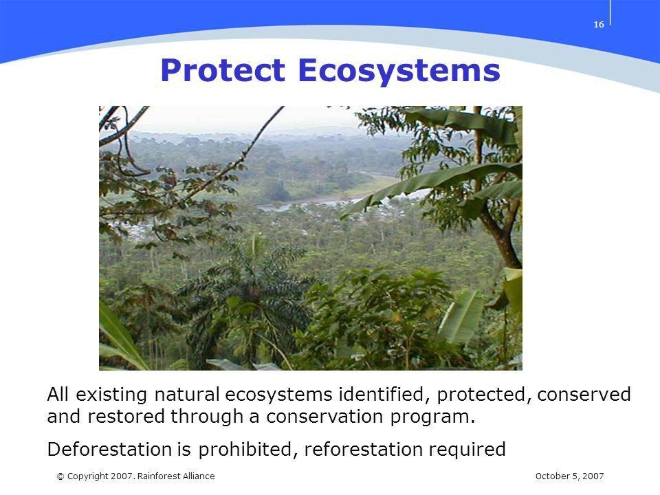 October 5, 2007© Copyright 2007. Rainforest Alliance 16 All existing natural ecosystems identified, protected, conserved and restored through a conser