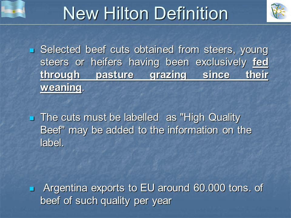 New Hilton Definition Selected beef cuts obtained from steers, young steers or heifers having been exclusively fed through pasture grazing since their weaning.