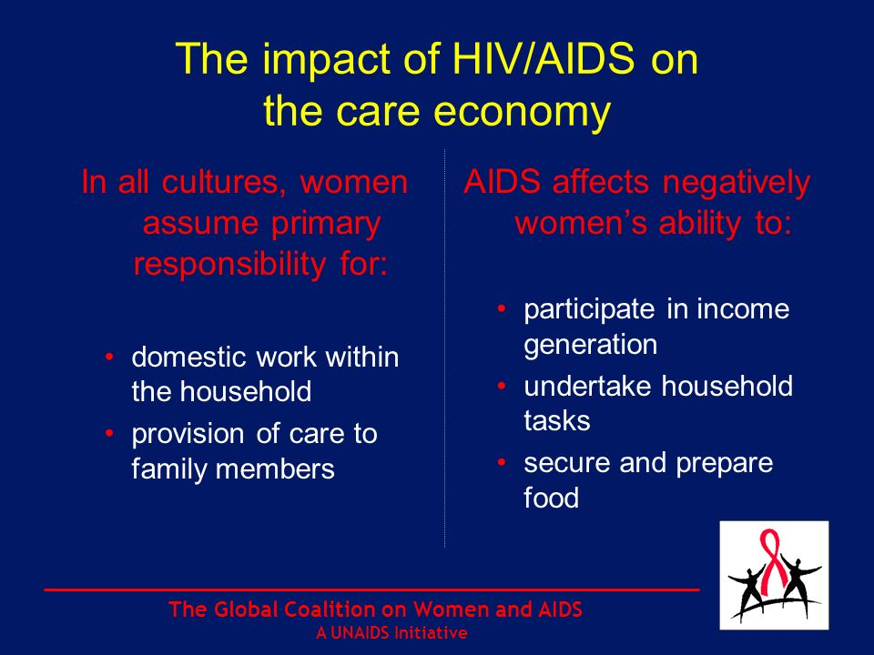 The Global Coalition on Women and AIDS A UNAIDS Initiative The impact of HIV/AIDS on the care economy In all cultures, women assume primary responsibility for: domestic work within the household provision of care to family members AIDS affects negatively womens ability to: participate in income generation undertake household tasks secure and prepare food