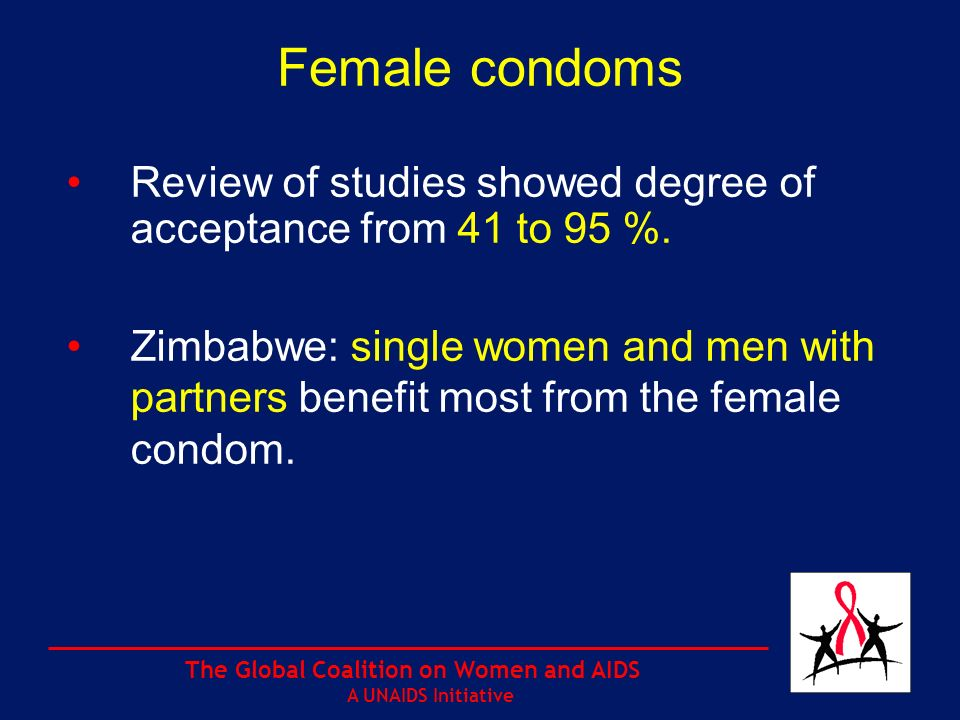 The Global Coalition on Women and AIDS A UNAIDS Initiative Female condoms Review of studies showed degree of acceptance from 41 to 95 %.