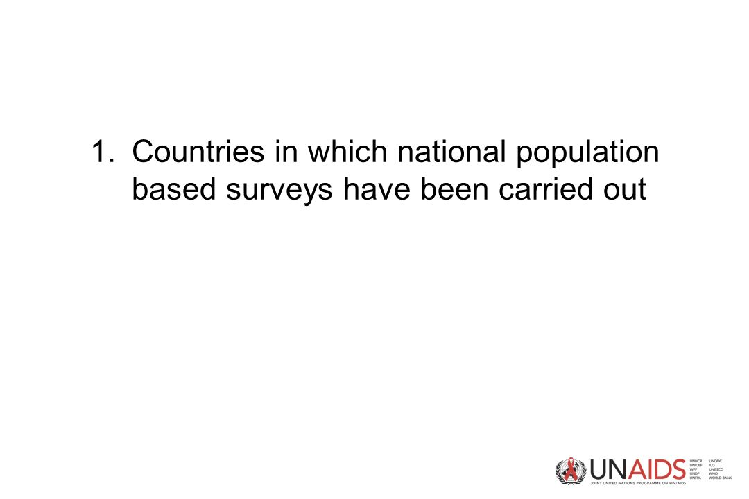 1.Countries in which national population based surveys have been carried out