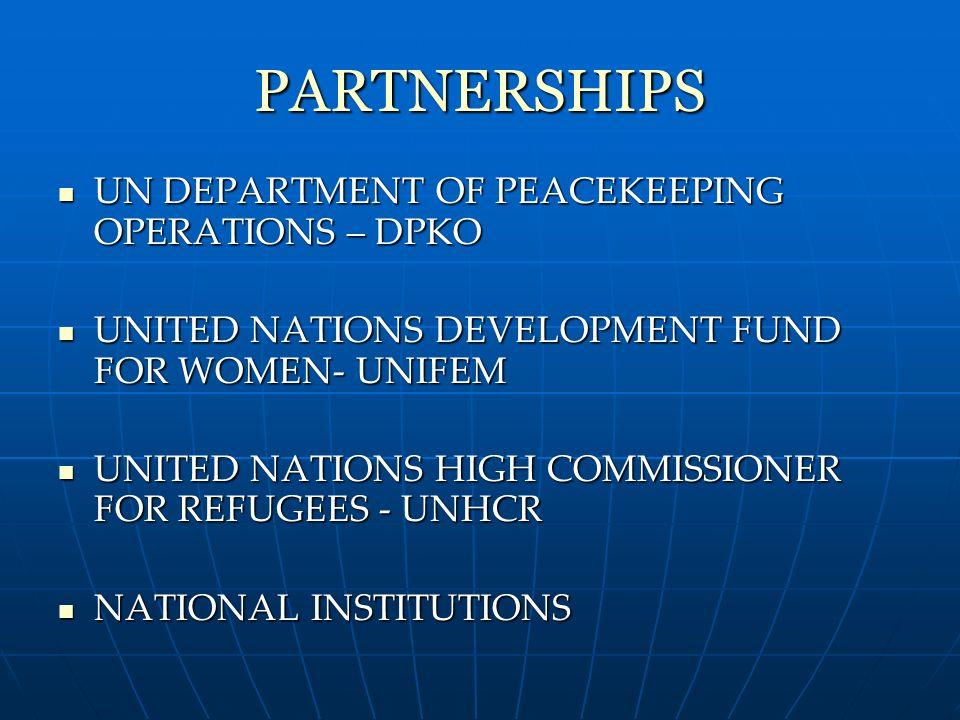 PARTNERSHIPS UN DEPARTMENT OF PEACEKEEPING OPERATIONS – DPKO UN DEPARTMENT OF PEACEKEEPING OPERATIONS – DPKO UNITED NATIONS DEVELOPMENT FUND FOR WOMEN