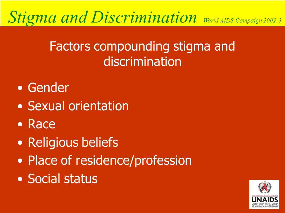Stigma and Discrimination World AIDS Campaign 2002-3 Factors compounding stigma and discrimination Gender Sexual orientation Race Religious beliefs Pl