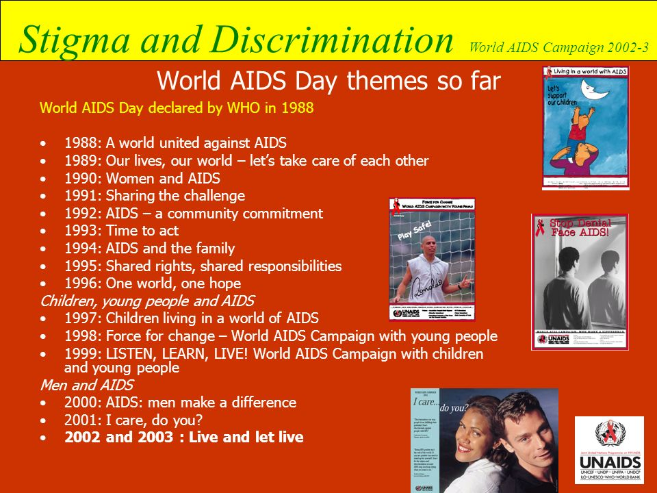 Stigma and Discrimination World AIDS Campaign 2002-3 How to address internalized stigma Address the problem programmatically Build skills and capacity among HIV-infected and -affected people Prepare people for voluntary disclosure Establish an enabling environment Develop support systems for individuals and groups Put the responsibility where it belongs (examine personal/institutional roles)