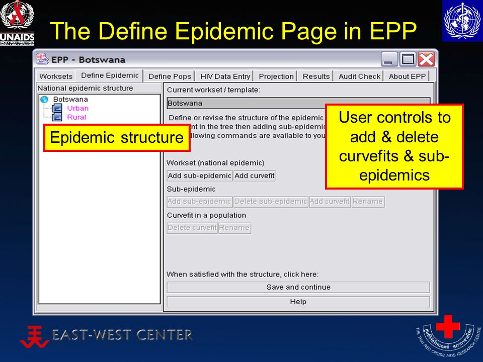 The Define Epidemic Page in EPP Epidemic structure User controls to add & delete curvefits & sub- epidemics