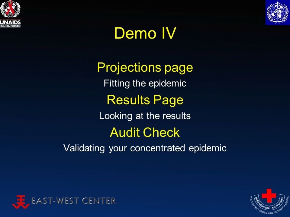 Demo IV Projections page Fitting the epidemic Results Page Looking at the results Audit Check Validating your concentrated epidemic