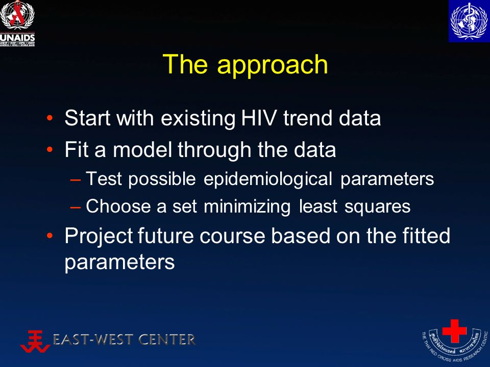 The approach Start with existing HIV trend data Fit a model through the data –Test possible epidemiological parameters –Choose a set minimizing least squares Project future course based on the fitted parameters