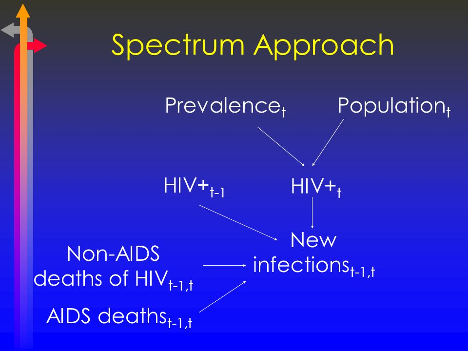 Spectrum Approach Prevalence t Population t HIV+ t New infections t-1,t Non-AIDS deaths of HIV t-1,t AIDS deaths t-1,t HIV+ t-1